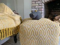 Yellow Herringbone Mohair Throw | Home Accessories